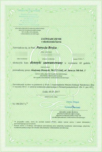 Certyfikat_Dietetyk_Trener personalny_Patrycja Brejza_Tczew, Malbork, Elbląg_Dietetyk